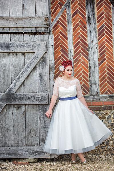 calf length wedding dress