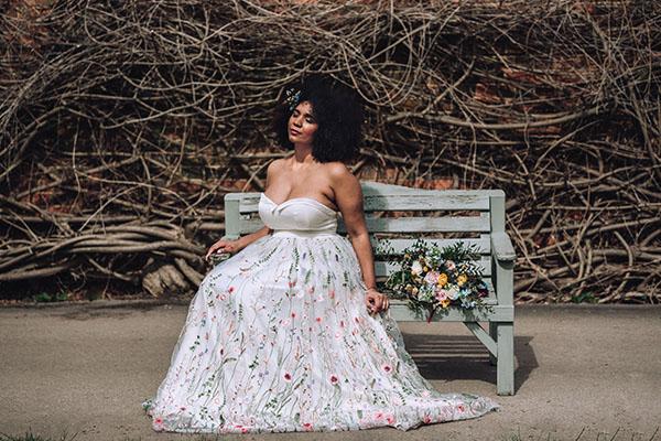 black woman in colourful wedding dress
