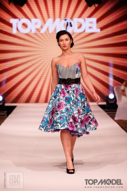 contrast print fifties dress