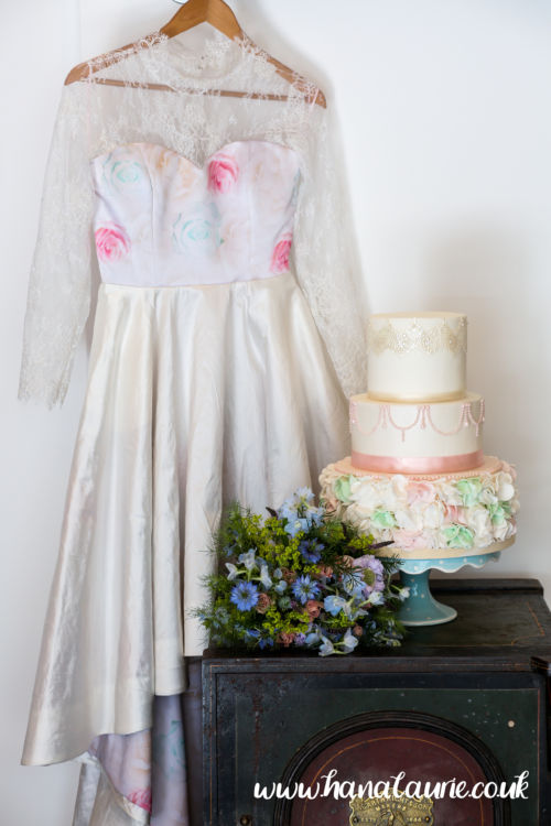pastel wedding dress