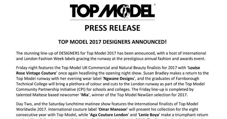 Top Model UK 2017 – Press Release