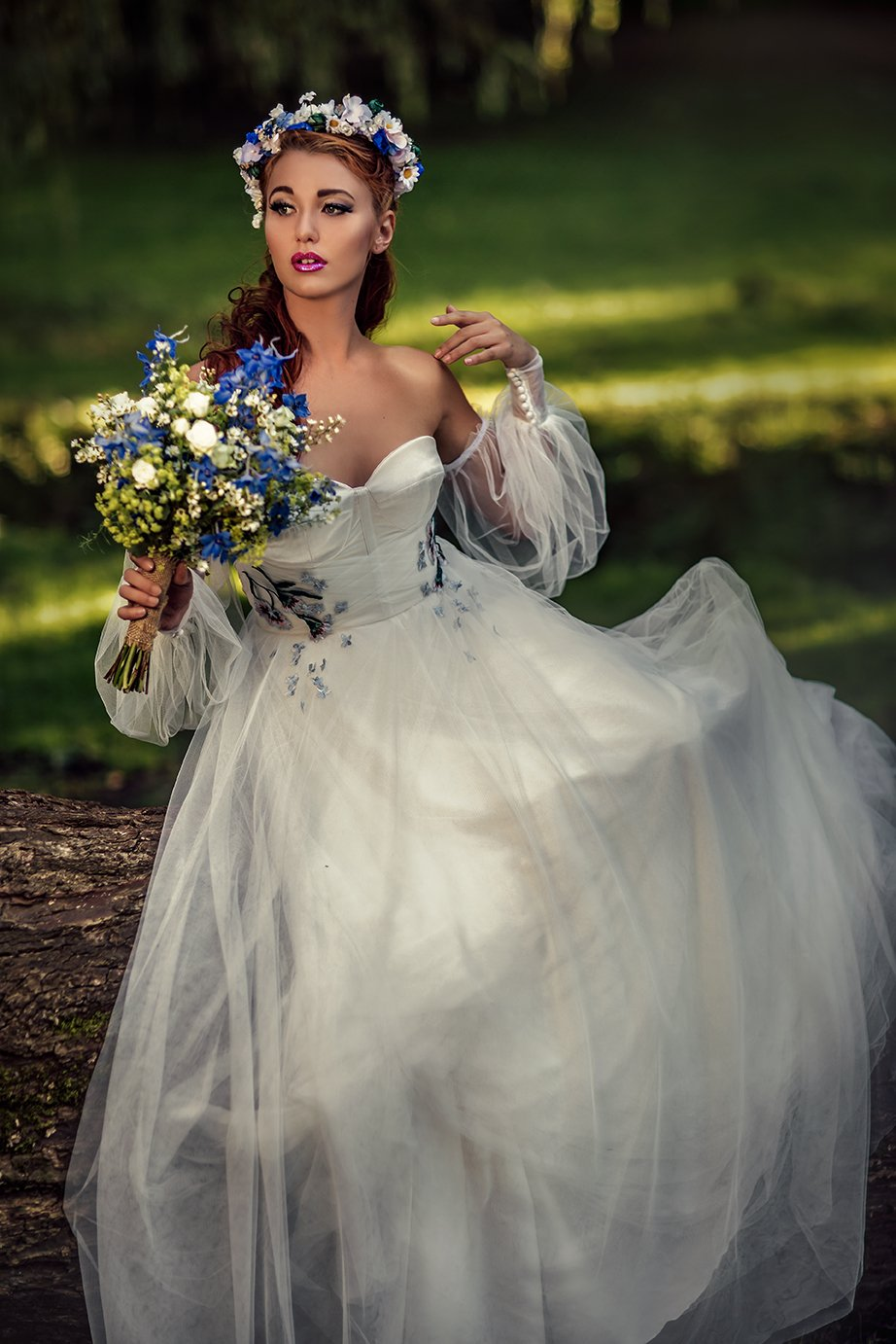ethereal bride in the woods