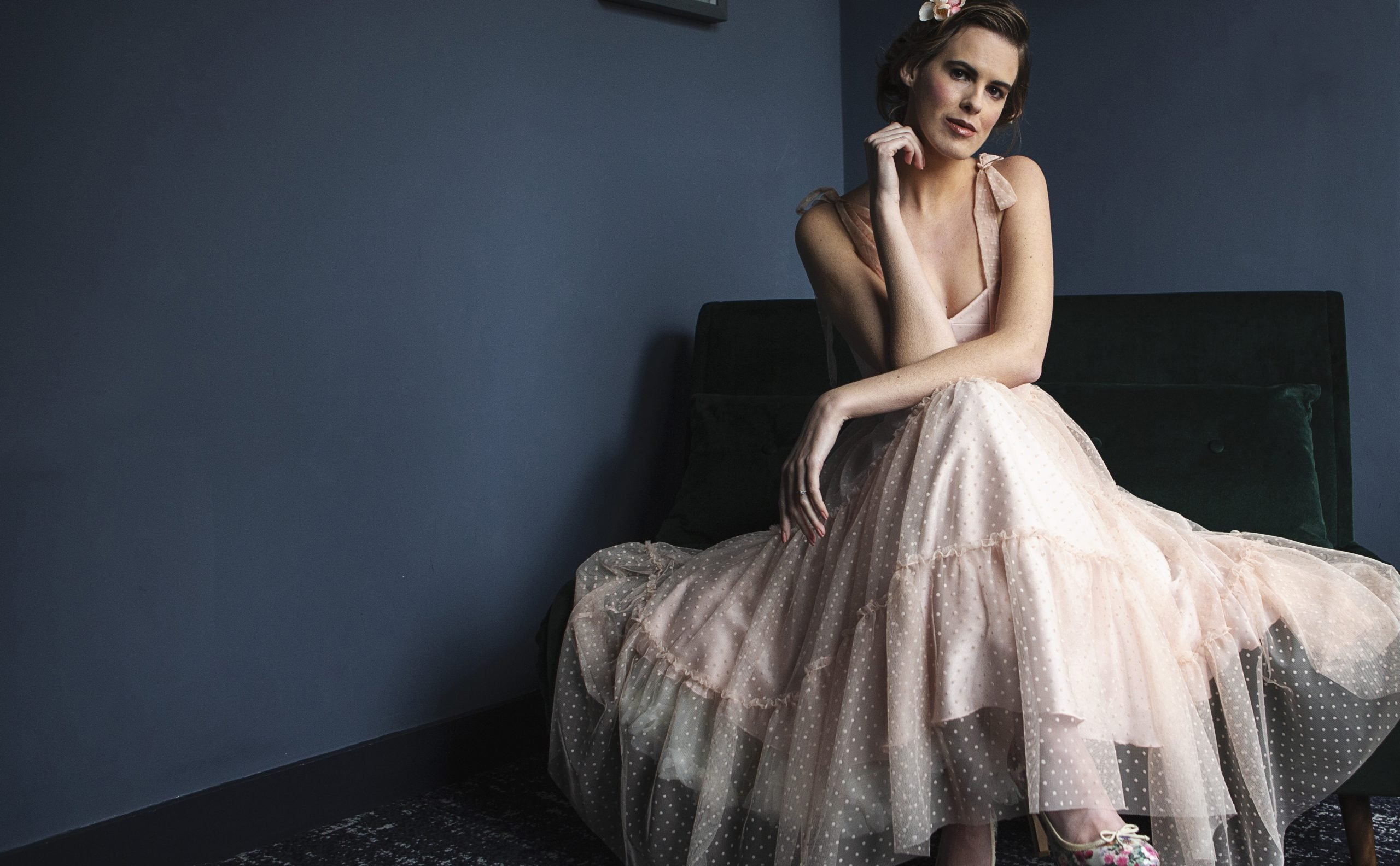 nude polka dot tea length dress