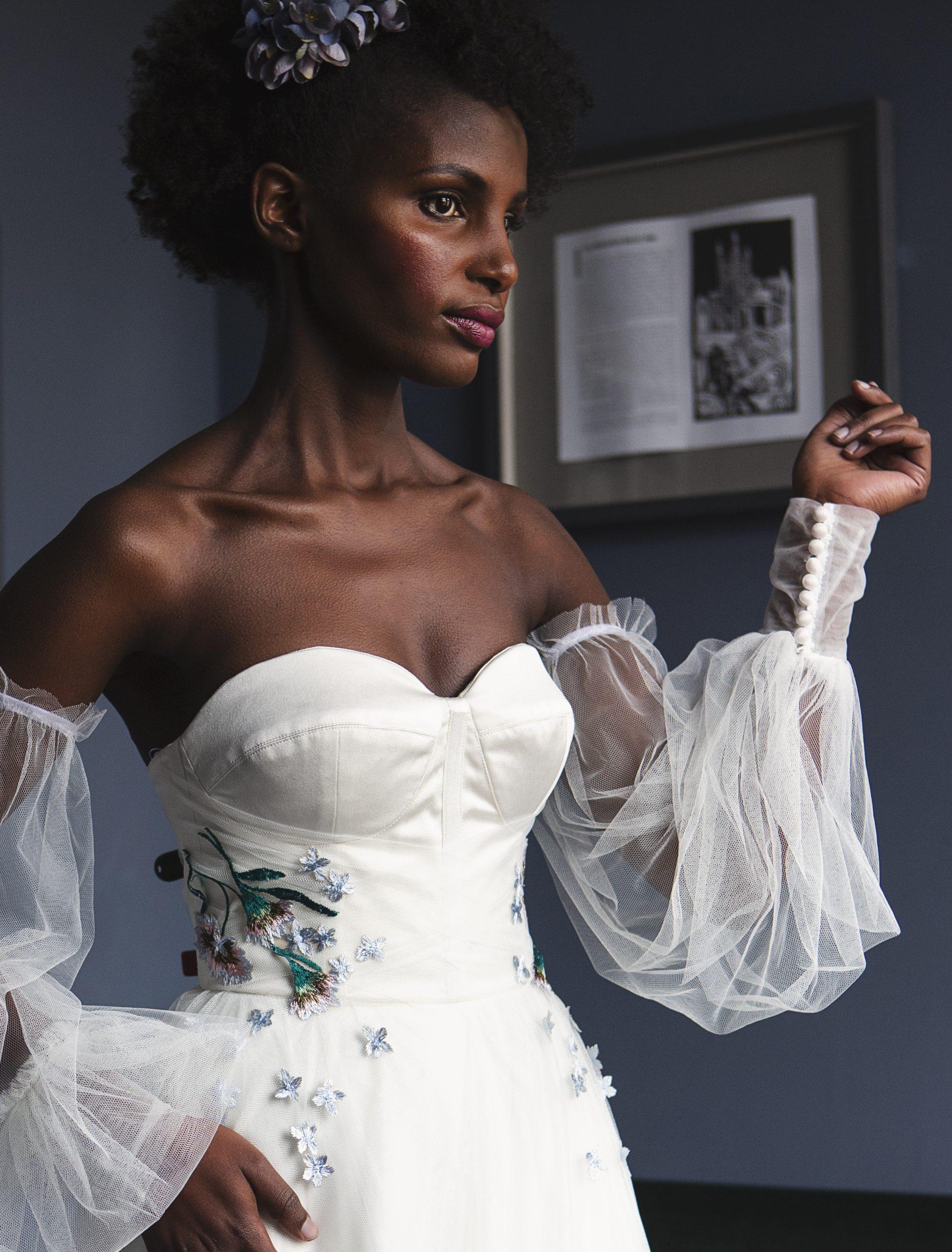 Bridal tulle sleeves