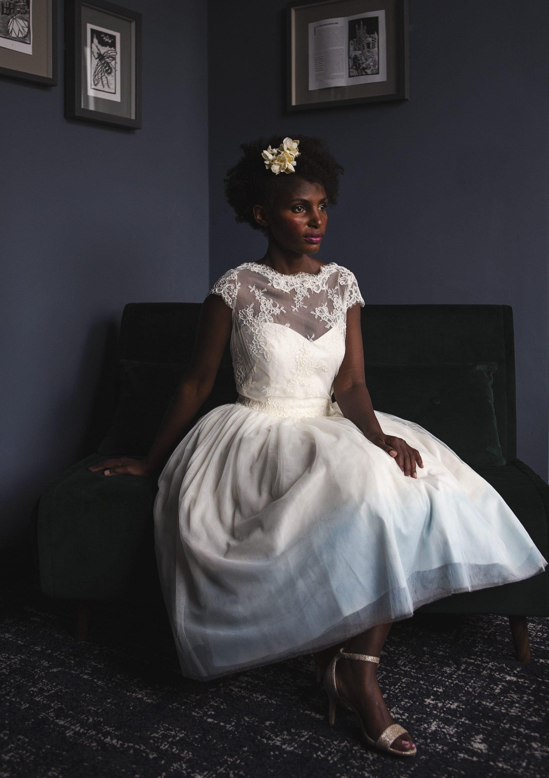 blue hem tea length wedding dress