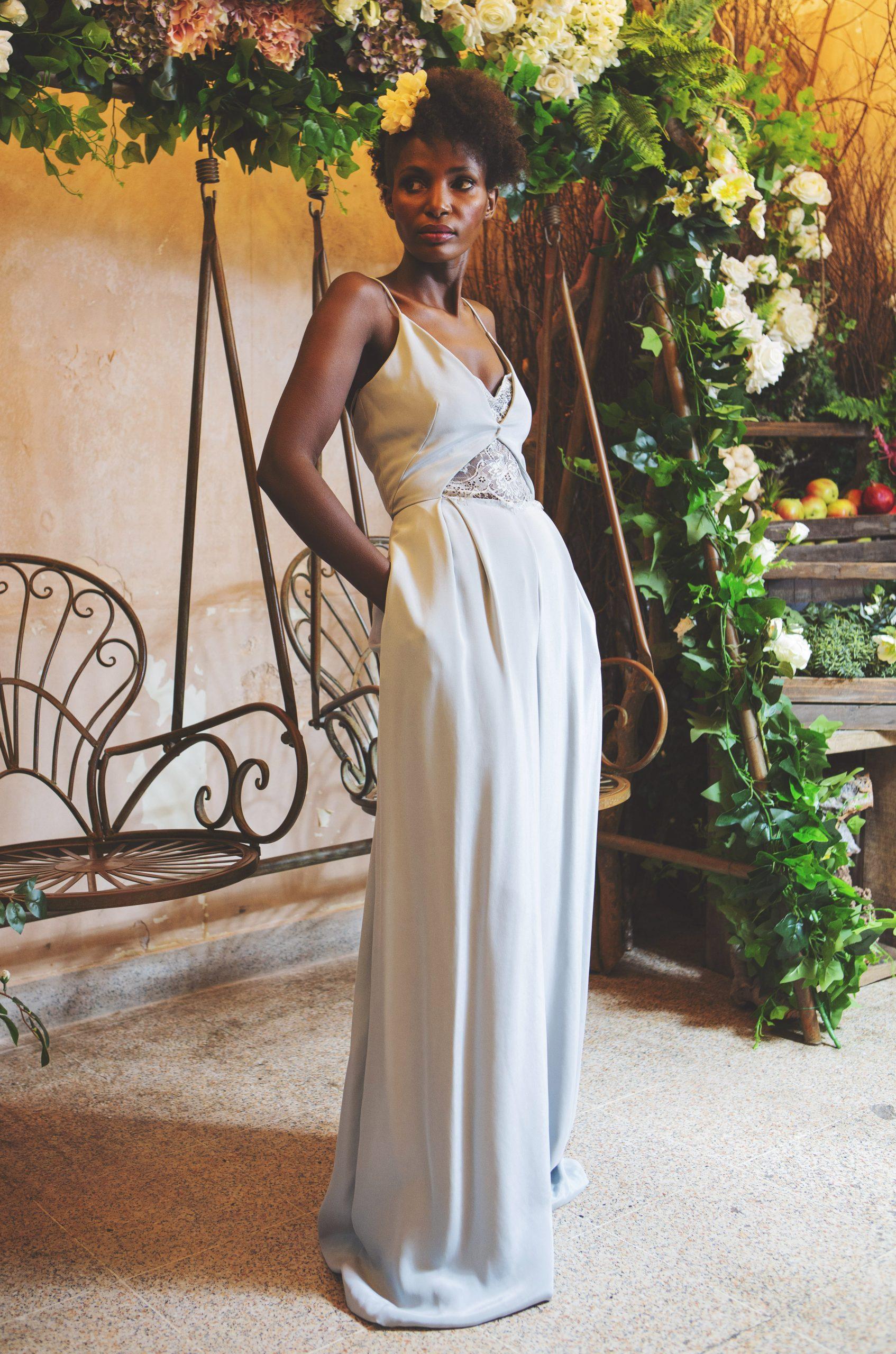 pale blue silk bridal jumpsuit