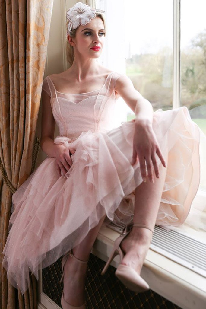 pink glitter tea length wedding dress