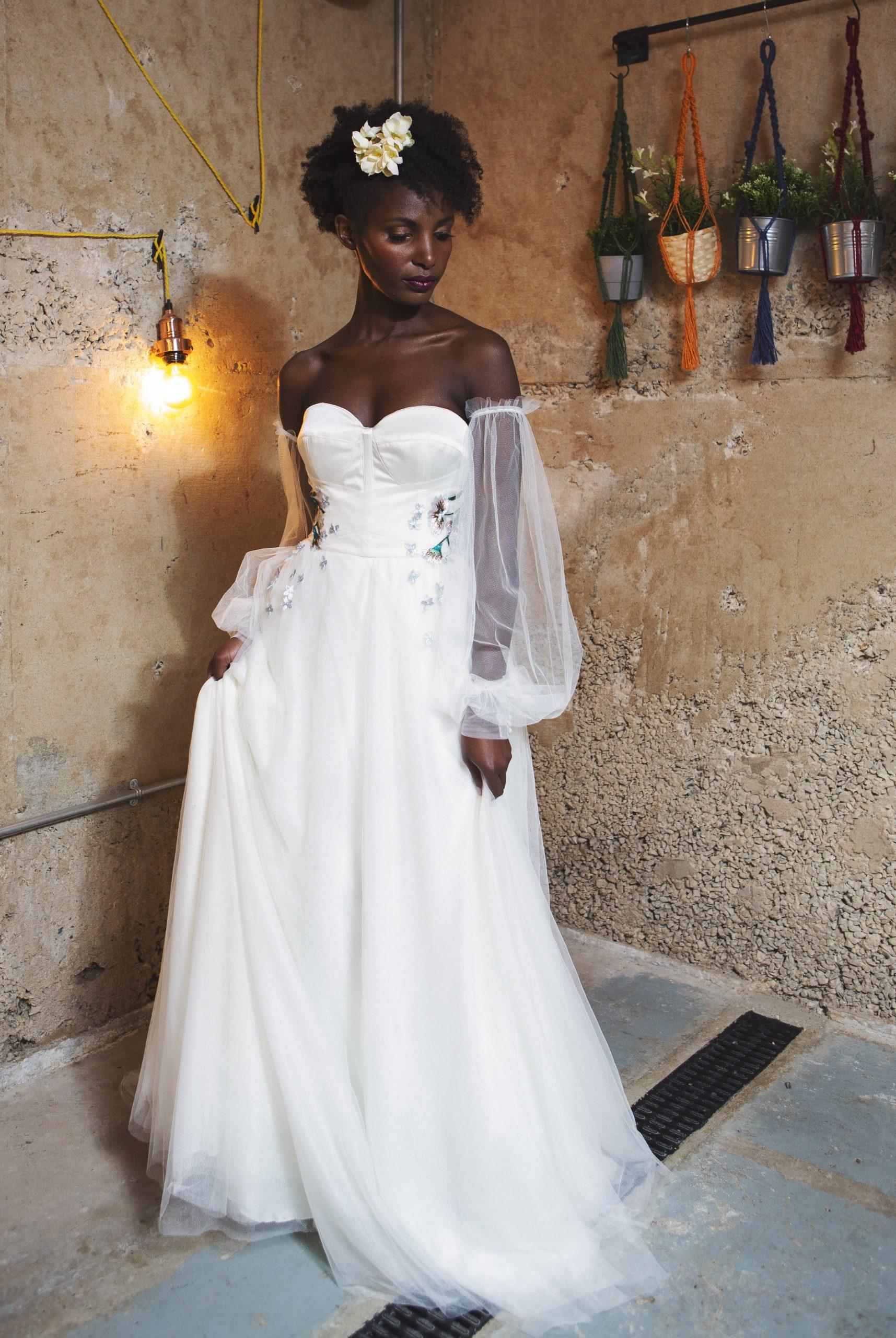 big tulle sleeve wedding dress